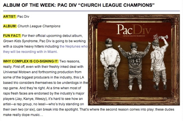 pac div x album of the week